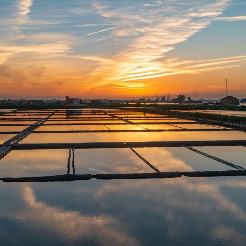 Salinas de Aveiro ao pôr do sol